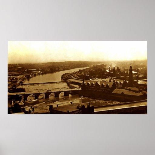 Canal Erie sobre el río de Genesee Impresiones