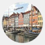 Canal escénico en Copenhague Pegatina Redonda