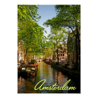 Canal holandés de Europa Amsterdam Póster