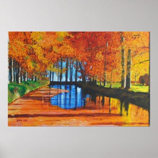 Canal holandés en la impresión del otoño posters