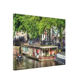 Canal Houseboat, Sights of Amsterdam Canvas Prints