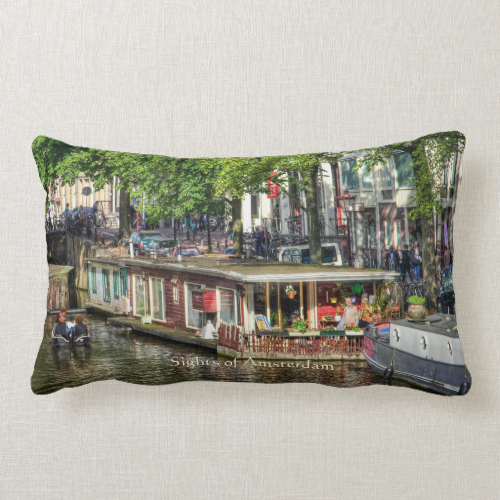 Canal Houseboat, Sights of Amsterdam Throw Pillow