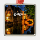 Canal in Belgium Square Metal Christmas Ornament