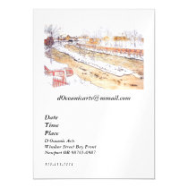 Canal in Snow Timber Chute Magnetic Invitation