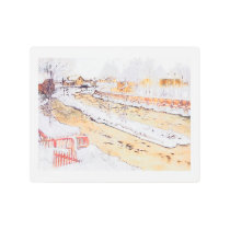 Canal in Snow Timber Chute Metal Print
