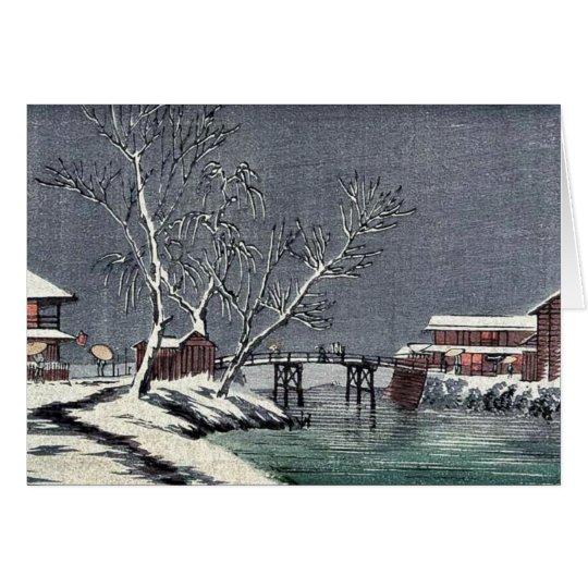 Canal in snow Ukiyoe Card