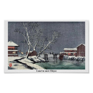 Canal in snow Ukiyoe Poster