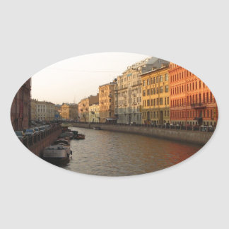 Canal in st Petersburg, Russia Oval Sticker