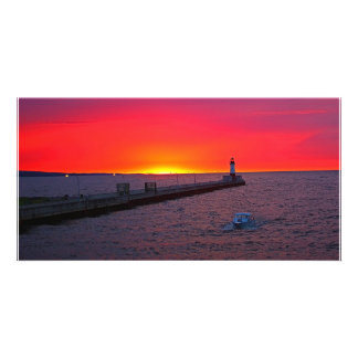 Canal Park Sunrise Customized Photo Card