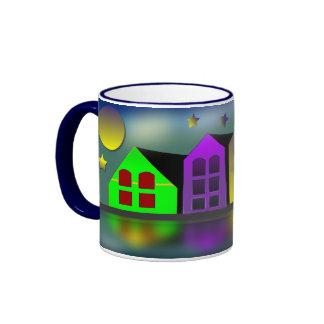 Canal Side at Night Ringer Coffee Mug
