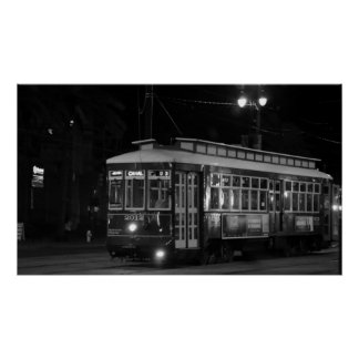 Canal Street Trolley (B&W) Poster