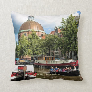 Canal Tour Boat, Sights of Amsterdam Throw Pillow