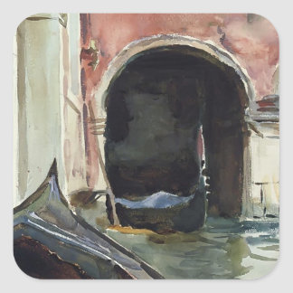 Canal veneciano de John Singer Sargent Pegatina Cuadrada