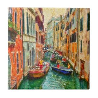 Canal veneciano Venecia Italia Azulejo Cuadrado Pequeño