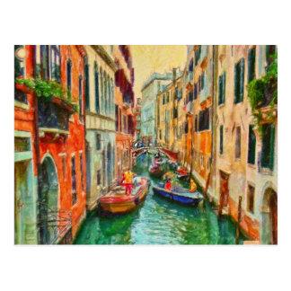 Canal veneciano Venecia Italia Postal