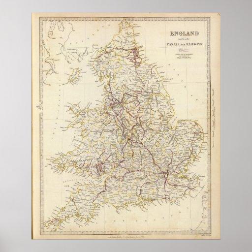 Canales de Inglaterra, ferrocarriles Poster