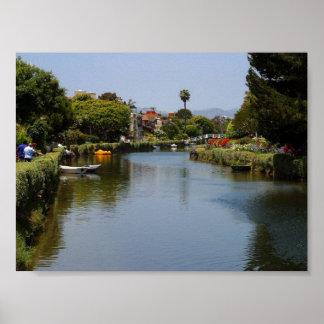 Canales de la playa de Venecia Póster