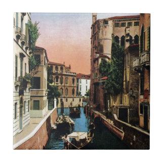 Canales de Venecia, imagen del vintage Azulejo Cuadrado Pequeño