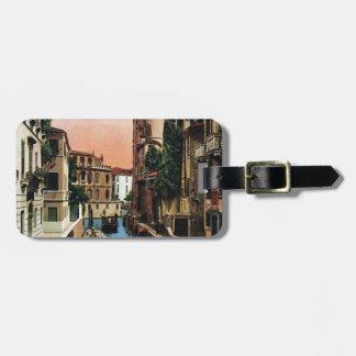Canales de Venecia, imagen del vintage Etiquetas De Maletas