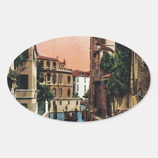 Canales de Venecia, imagen del vintage Calcomanía Ovalada