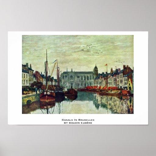 Canales en Bruselas de Boudin Eugène Posters