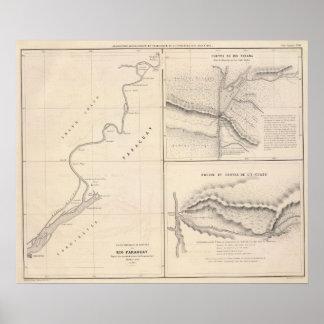 Canales inclinados de Río Paraguay, Río Paraná en  Póster