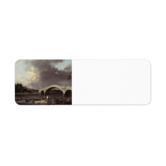 Canaletto- Old Walton Bridge over the Thames Labels