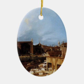 Canaletto- Stonemason's Yard Double-Sided Oval Ceramic Christmas Ornament