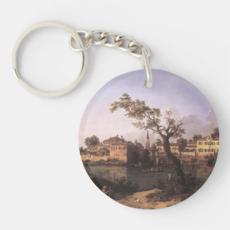 Canaletto- View of a River, Perhaps in Padua Key Chain