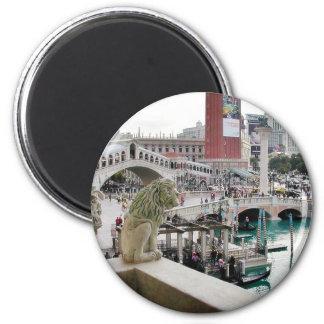 Canals Gondolas Bridges Las Vegas 2 Inch Round Magnet