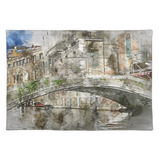 Canals of Venice Italy Watercolor Cloth Placemat