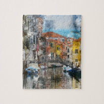 Canals of Venice Italy Watercolor Jigsaw Puzzle