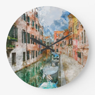 Canals of Venice Italy Watercolor Large Clock