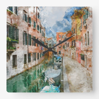 Canals of Venice Italy Watercolor Square Wall Clock