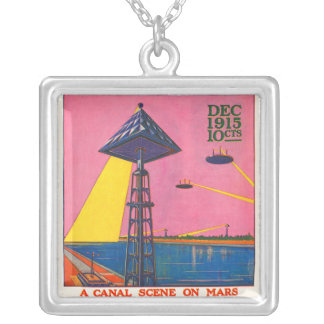 Canals on Mars Square Pendant Necklace