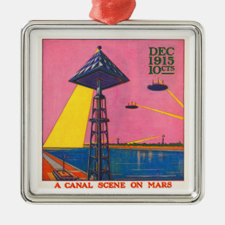 Canals on Mars Square Metal Christmas Ornament