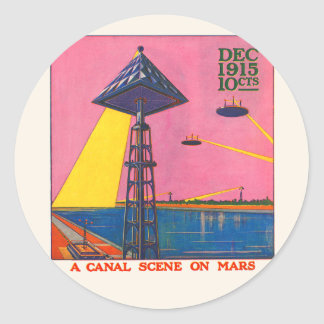 Canals on Mars Classic Round Sticker