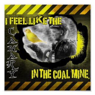 Canario en una mina de carbón impresiones