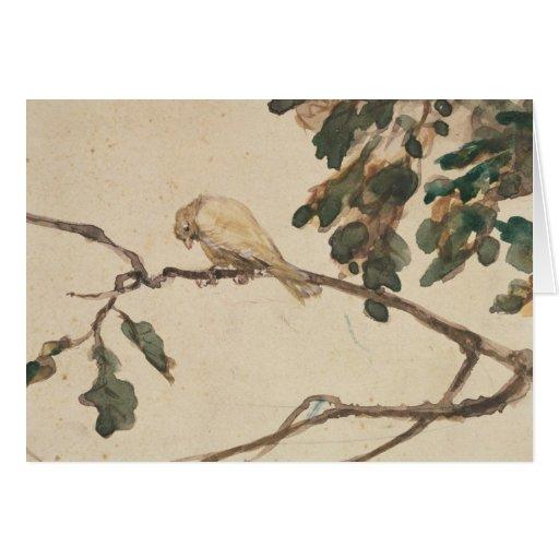 Canario en una rama de roble tarjetas