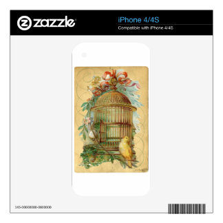 Canary Bird Cage Victorian Decal For iPhone 4