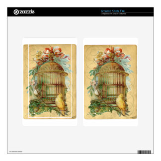 Canary Bird Cage Victorian Decals For Kindle Fire