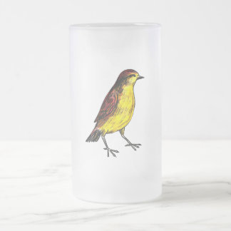Canary Bird Frosted Glass Beer Mug