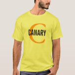 Canary Bird Monogram Design T-Shirt