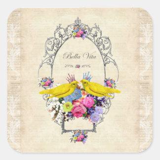 Canary Birds ~ Bella Vita by Bella Bella Studios Square Sticker
