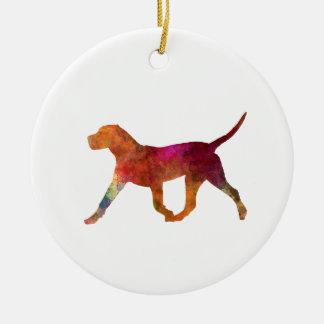 Canary bulldog in watercolor ceramic ornament