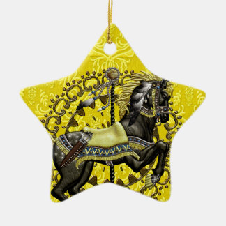 Canary Damask Ceramic Ornament