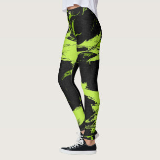Canary green paint splashes black canvas pattern leggings
