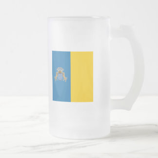 Canary Islands Flag Frosted Glass Beer Mug