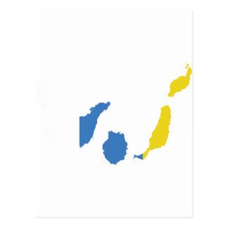 Canary Islands flag map Postcard