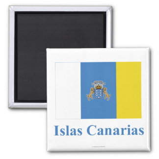 Canary Islands Flag with Name in Spanish 2 Inch Square Magnet